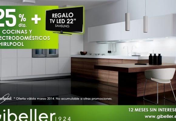 En marzo, 25% de dto. en muebles de cocina y electrodomésticos Whirpool, además de un televisor de regalo