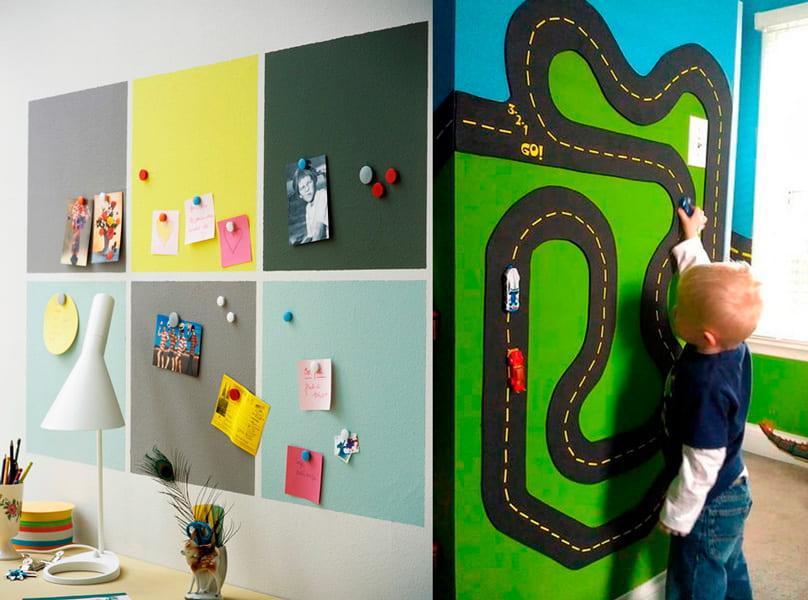 Ideas de Pintura Magnética en escritorio y como juego en la habitación de los niños
