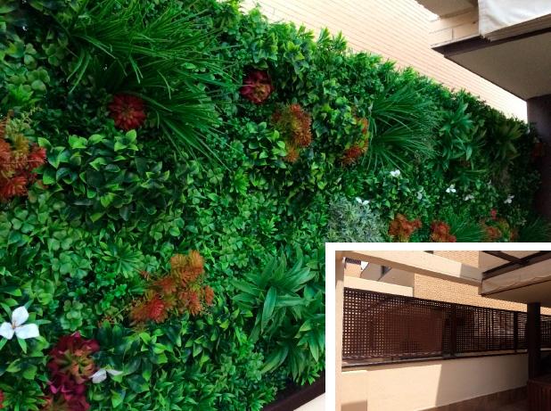 el antes y después de un jardín vertical